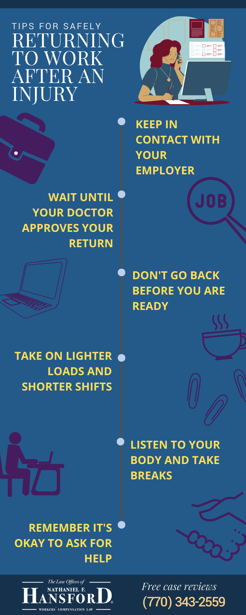 tips for safely returning to work after an injury infographic